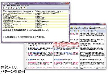翻訳メモリ、パターン登録例