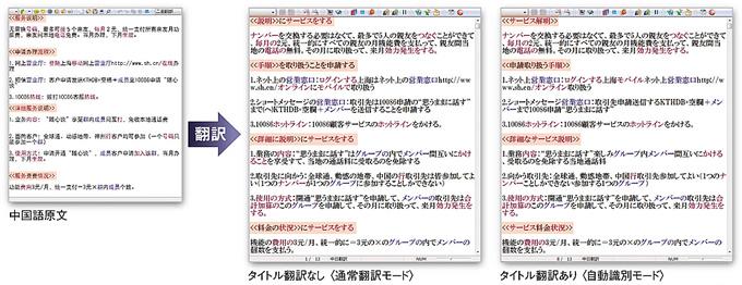 タイトル翻訳で、見出しと本文を自動識別で訳し分け