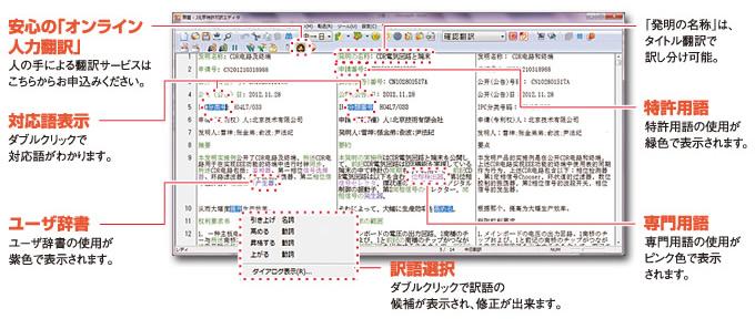 「対訳エディタ」は、高度な翻訳結果を得るための翻訳編集エディタです。