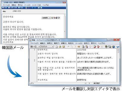 メール翻訳し対訳エディタで表示